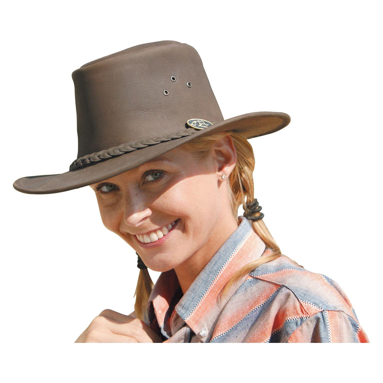 L-Outback Lederhut für Erwachsene braun | XS