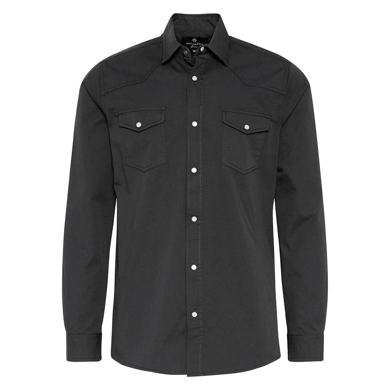 OKLAHOMA Hemdshirt black twill | S