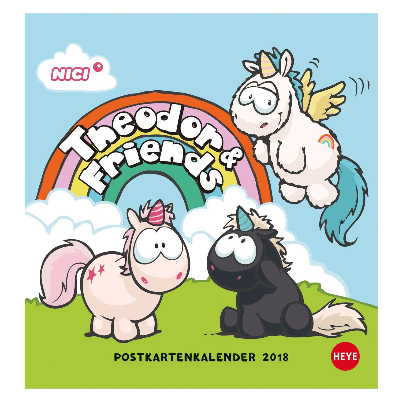 Postkartenkalender Einhorn 2018