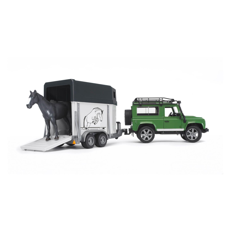 bruder Spielfigur Land Rover mit Pferdeanhänger
