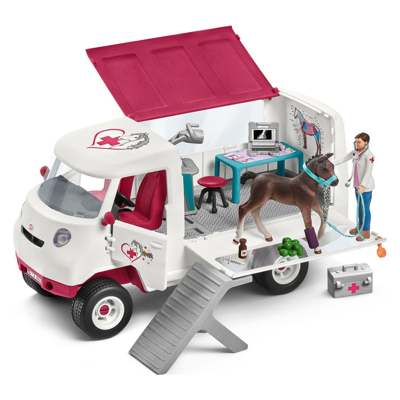 schleich mobile tier rztin mit fohlen pferdestall. Black Bedroom Furniture Sets. Home Design Ideas