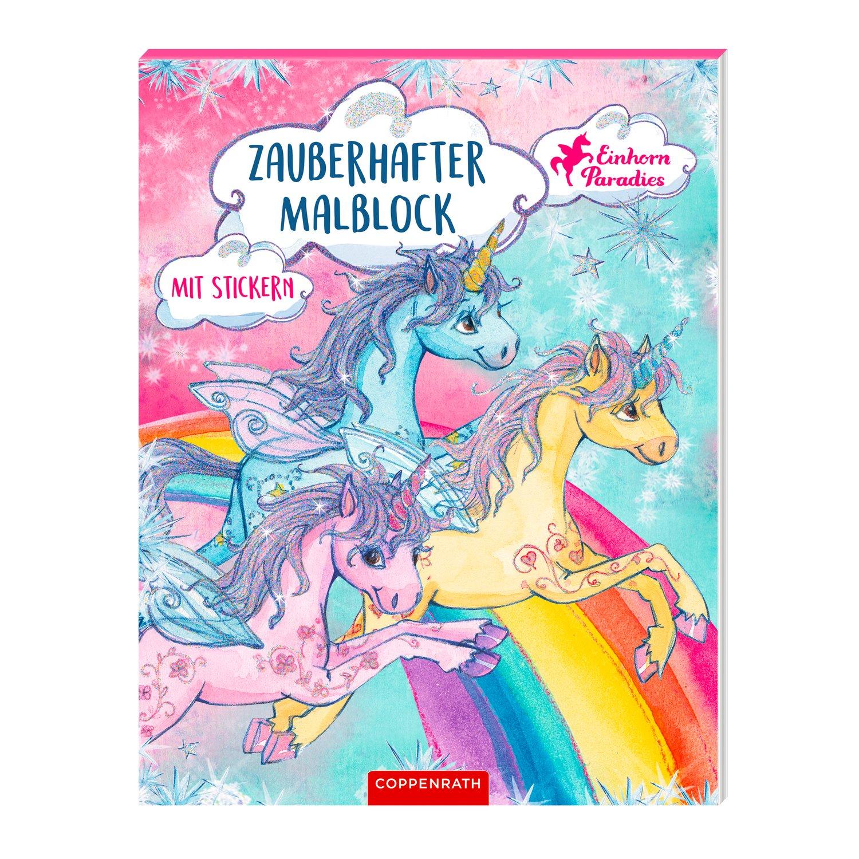 DIE SPIEGELBURG Zauberhafter Malblock und Sticker Einhorn Paradies