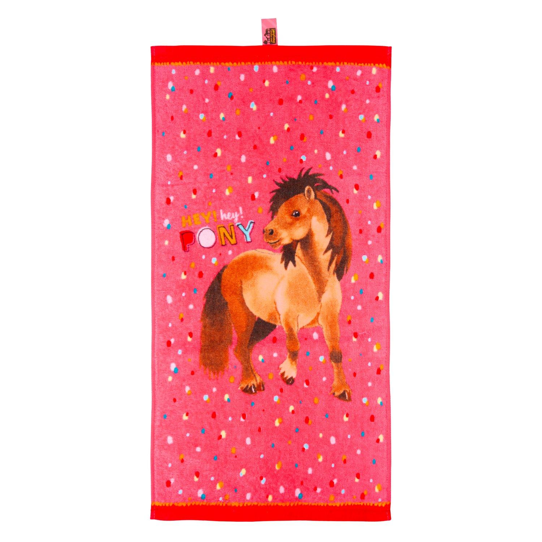 DIE SPIEGELBURG Zauberhandtuch Mein kleiner Ponyhof rot | 30X60