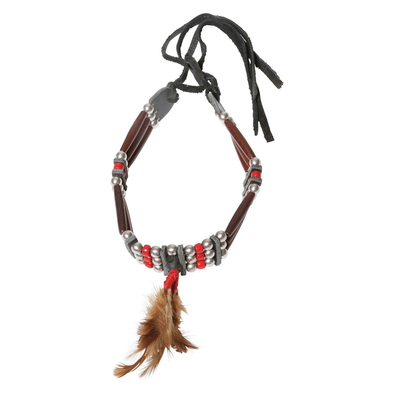 Halskette 'Chokers' mit Feder braun/rot