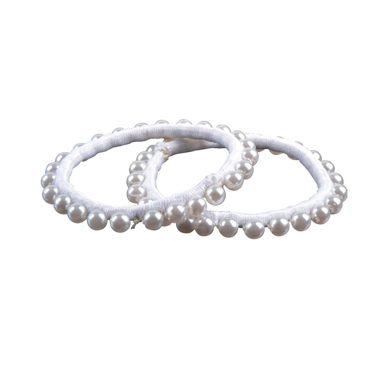 Solida Haargummi Perlen, schmal weiß
