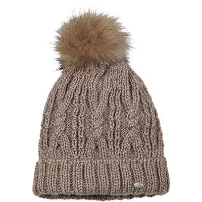 Pikeur Mütze mit Fell-Imitat-Bommel walnut | 55-57