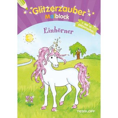 TESSLOFF Glitzerzauber-Malblock Einhörner