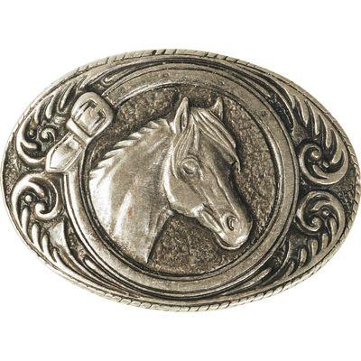 Gürtelschnalle Pferdekopf altsilber