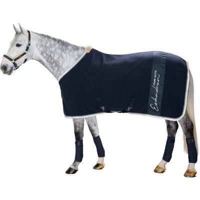 ESKADRON Classic Sports Abschwitzdecke Fleece Stripe navy/grey | 165 cm