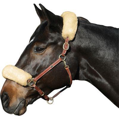 Echt-Lammfell-Nasen- oder Genickschutz für Ponys natur
