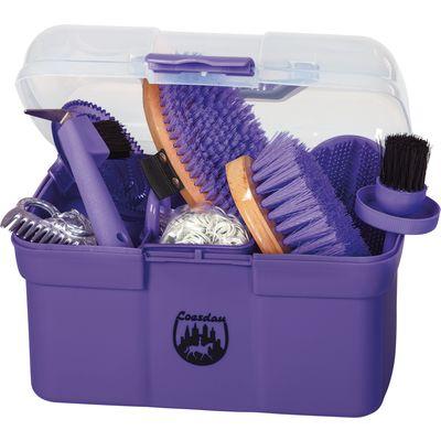 Kleine Putzbox mit Inhalt lila