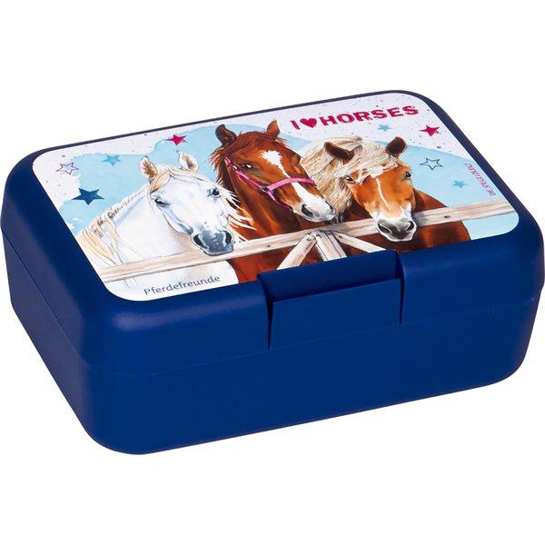 Butterbrotdose Pferdefreunde blau