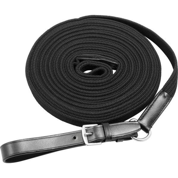 Loesdau Longe mit Lederschlaufe, 8 m schwarz   8 m
