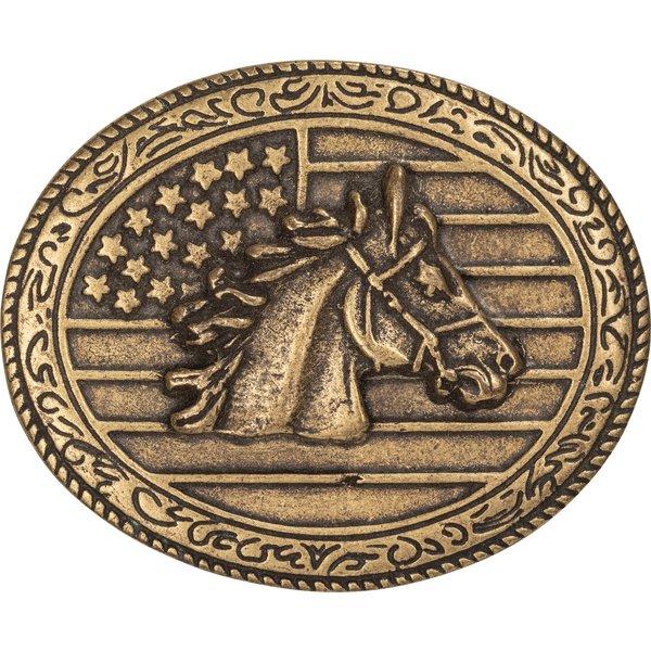 L-pro West Gürtelschnalle Pferdekop USA altmessing