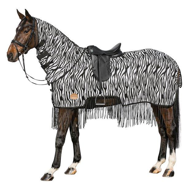 Horse-friends Fliegen-Ausreitdecke mit Fransen und Zebramuster