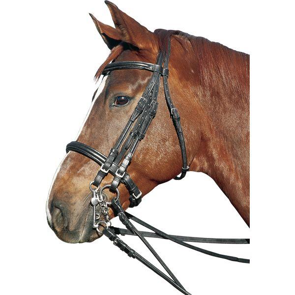 Doublierter Kandarenzaum schwarz   Pony
