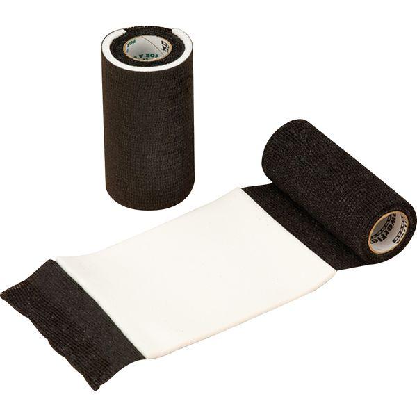 Loesdau PowerFlex-Bandage mit Wundauflage schwarz | 2,25 m (gedehnt)